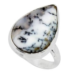 13.70cts solitaire natural white dendrite opal 925 silver ring size 7 r50405