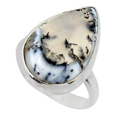 14.72cts solitaire natural white dendrite opal 925 silver ring size 7 r50410
