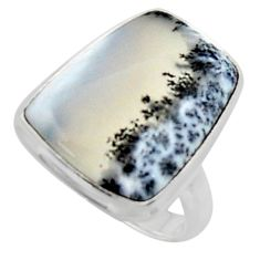14.90cts solitaire natural white dendrite opal 925 silver ring size 7 r50414