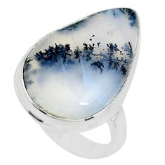 14.72cts solitaire natural white dendrite opal 925 silver ring size 7 t10373