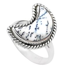 5.82cts moon natural white dendrite opal 925 silver ring size 7 t22147