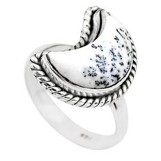 5.23cts moon natural white dendrite opal 925 silver ring size 7 t22155