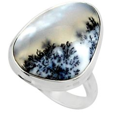 15.08cts solitaire natural white dendrite opal 925 silver ring size 8 r50402