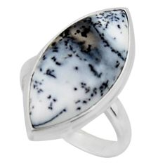 14.68cts solitaire natural white dendrite opal 925 silver ring size 8 r50406