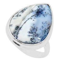 14.40cts solitaire natural white dendrite opal 925 silver ring size 8 t10368