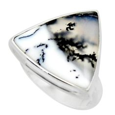 14.40cts solitaire natural white dendrite opal 925 silver ring size 9 r50393