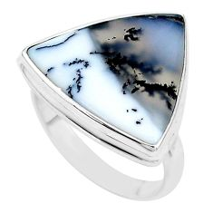 13.77cts solitaire natural white dendrite opal 925 silver ring size 9 t10555
