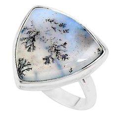 14.26cts solitaire natural white dendrite opal 925 silver ring size 8.5 t10354