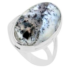 14.40cts solitaire natural white dendrite opal 925 silver ring size 8.5 t24681