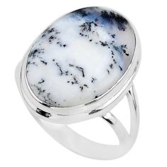 13.87cts solitaire natural white dendrite opal 925 silver ring size 9.5 t24682