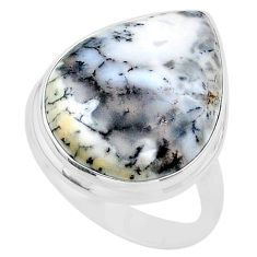 18.01cts solitaire natural white dendrite opal 925 silver ring size 11.5 t24684