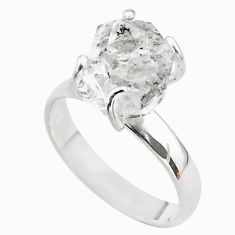 5.45cts solitaire natural white herkimer diamond 925 silver ring size 7 t49601