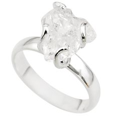 5.36cts solitaire natural white herkimer diamond 925 silver ring size 7 t49618