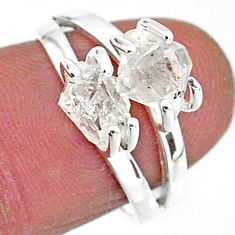 5.38cts solitaire natural white herkimer diamond 925 silver ring size 7 t7003