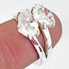 5.96cts solitaire natural white herkimer diamond 925 silver ring size 7 t7012