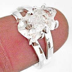 5.63cts solitaire natural white herkimer diamond 925 silver ring size 7 t7014