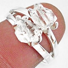 6.20cts solitaire natural white herkimer diamond 925 silver ring size 7 t7020