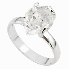 4.86cts solitaire natural white herkimer diamond 925 silver ring size 8 t49613