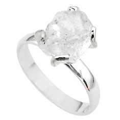 5.54cts solitaire natural white herkimer diamond 925 silver ring size 8 t49621