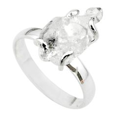 5.21cts solitaire natural white herkimer diamond 925 silver ring size 8 t49626