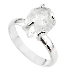 5.22cts solitaire natural white herkimer diamond 925 silver ring size 8 t49631