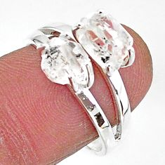5.96cts solitaire natural white herkimer diamond 925 silver ring size 8 t7001