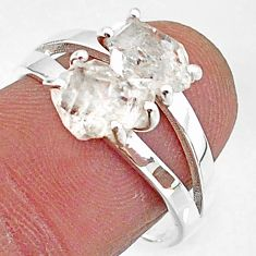 5.64cts solitaire natural white herkimer diamond 925 silver ring size 8 t7015
