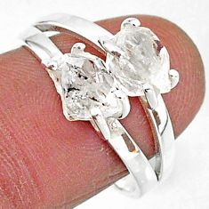 6.26cts solitaire natural white herkimer diamond 925 silver ring size 8 t7017
