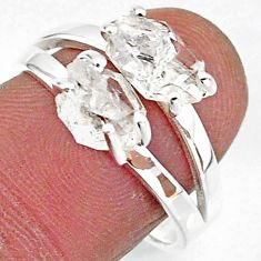 6.29cts solitaire natural white herkimer diamond 925 silver ring size 8 t7019
