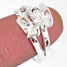 5.95cts solitaire natural white herkimer diamond 925 silver ring size 8 t7021