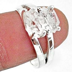 5.42cts solitaire natural white herkimer diamond 925 silver ring size 8 t7027