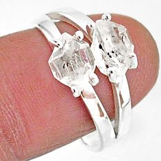 5.45cts solitaire natural white herkimer diamond 925 silver ring size 8 t7030