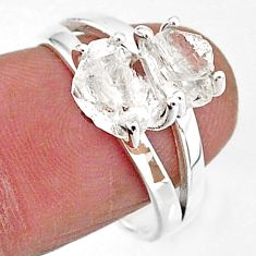 5.45cts solitaire natural white herkimer diamond 925 silver ring size 8 t7031
