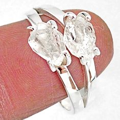 5.45cts solitaire natural white herkimer diamond 925 silver ring size 8 t7033