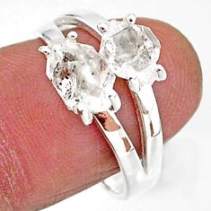 5.64cts solitaire natural white herkimer diamond 925 silver ring size 8 t7035