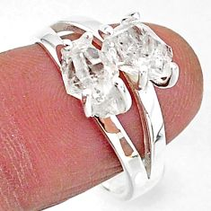 5.73cts solitaire natural white herkimer diamond 925 silver ring size 8 t7038