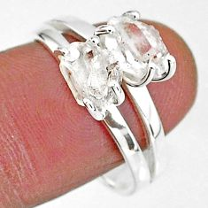 5.38cts solitaire natural white herkimer diamond 925 silver ring size 9 t7023