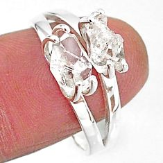5.96cts solitaire natural white herkimer diamond 925 silver ring size 9 t7036