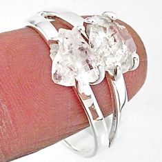 5.38cts solitaire natural white herkimer diamond 925 silver ring size 9 t7039