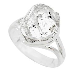 4.71cts solitaire natural white herkimer diamond 925 silver ring size 6.5 t10577