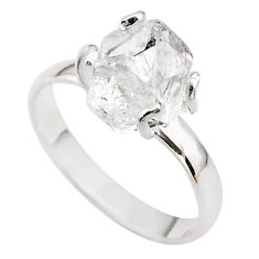5.07cts solitaire natural white herkimer diamond 925 silver ring size 9.5 t49609