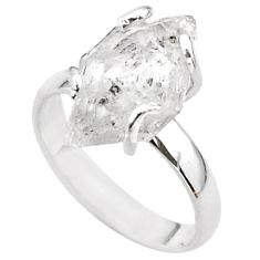 5.84cts solitaire natural white herkimer diamond 925 silver ring size 7.5 t49640
