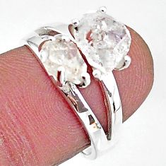 5.45cts solitaire natural white herkimer diamond fancy silver ring size 7 t7006