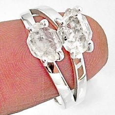 5.96cts solitaire natural white herkimer diamond fancy silver ring size 7 t7034