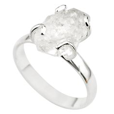 5.17cts solitaire natural white herkimer diamond fancy silver ring size 8 t49607