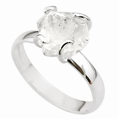 5.17cts solitaire natural white herkimer diamond fancy silver ring size 8 t49614