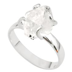 5.07cts solitaire natural white herkimer diamond fancy silver ring size 8 t49619