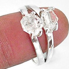 5.11cts solitaire natural white herkimer diamond fancy silver ring size 8 t7026
