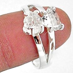 5.45cts solitaire natural white herkimer diamond fancy silver ring size 9 t7028