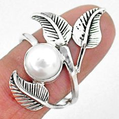 3.09cts solitaire natural white pearl 925 silver leaf charm ring size 7 t6372